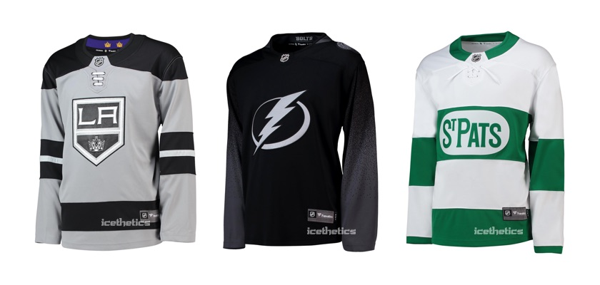 Los Angeles Kings, Tampa Bay Lightning, and Toronto Maple Leafs 2018-19 third jerseys