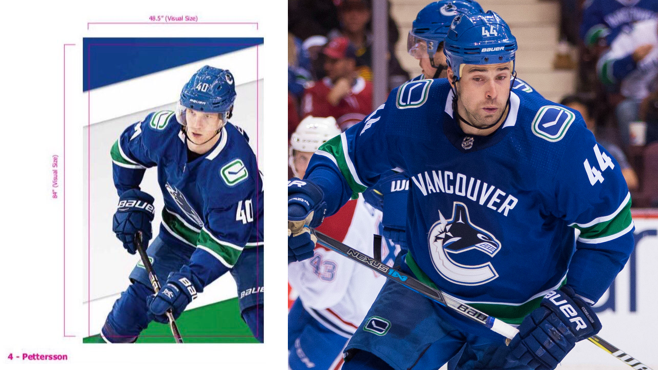 Apparent leak of Vancouver Canucks 2019-20 home uniform compared to current design