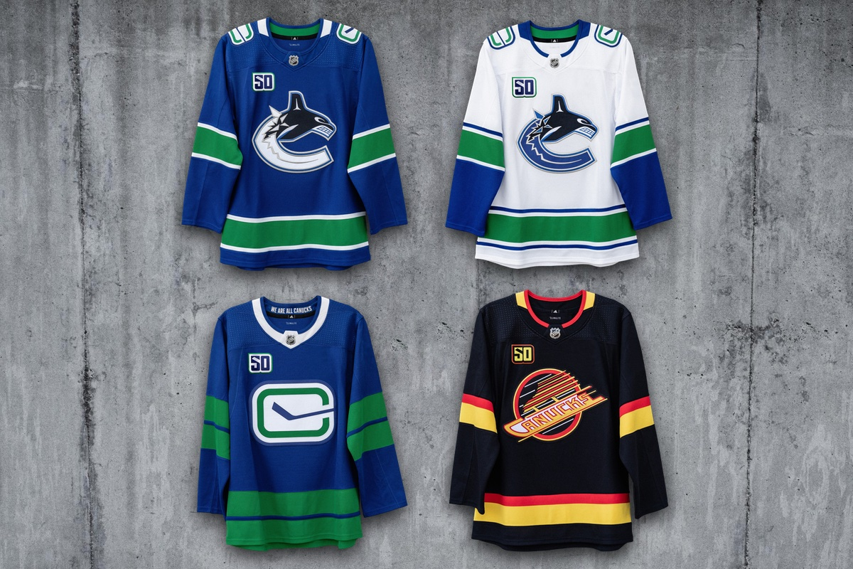 Vancouver Canucks home/road/alternate/throwback jerseys for 2019-20