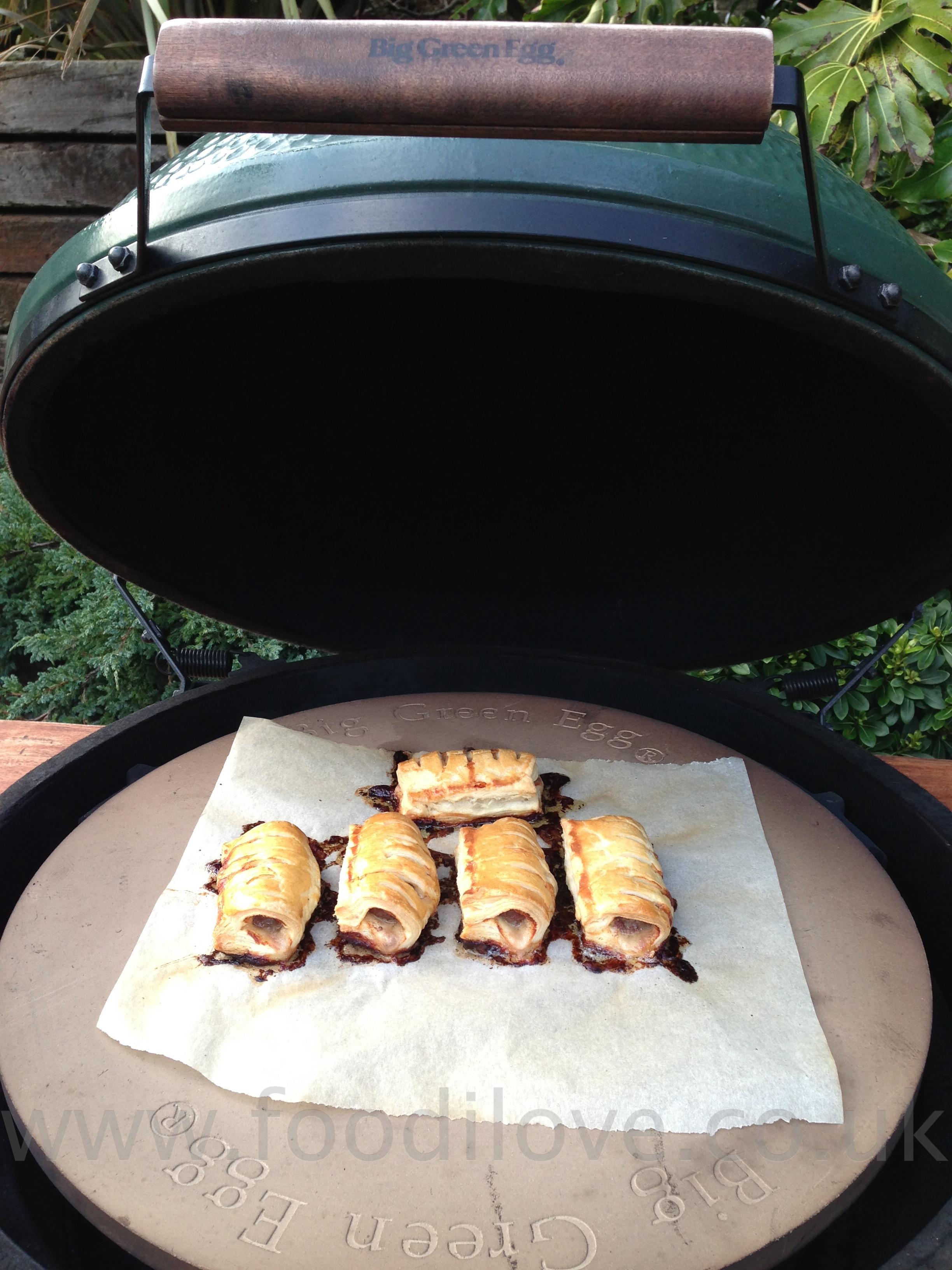 Cheese & Garlic Boerewors Sausage Rolls cooked on the Braai/BigGreenEgg