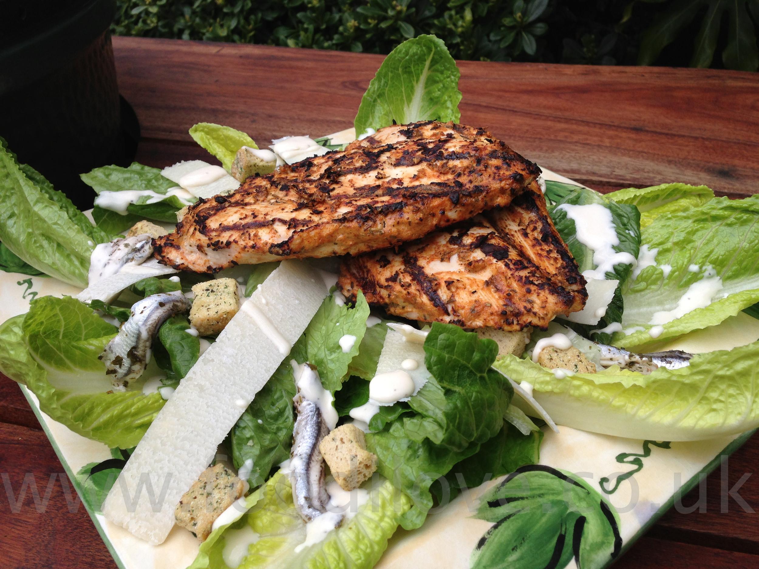 Blackened Chicken Caesar Salad on the Braai/BigGreenEgg