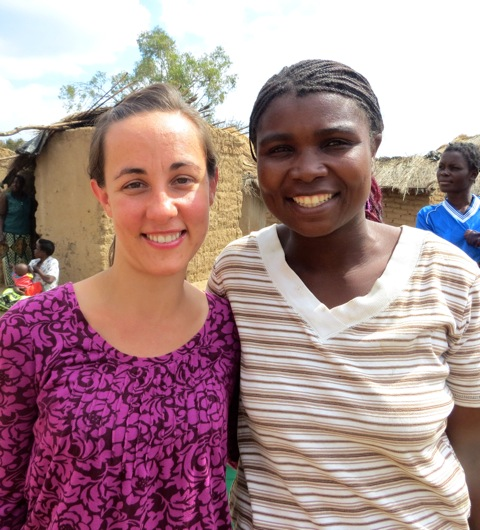 Sara with her friend and Care Worker (also named Sara!) in Mcheneke, Malawi