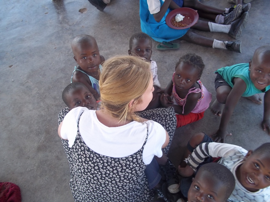 Jade with new friends in Zimbabwe