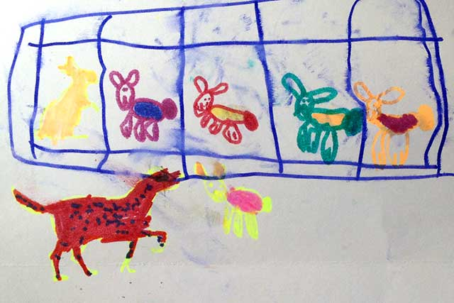 Dramitisation by 5 year old Chloe depicting the roaming dog and the rabbits.