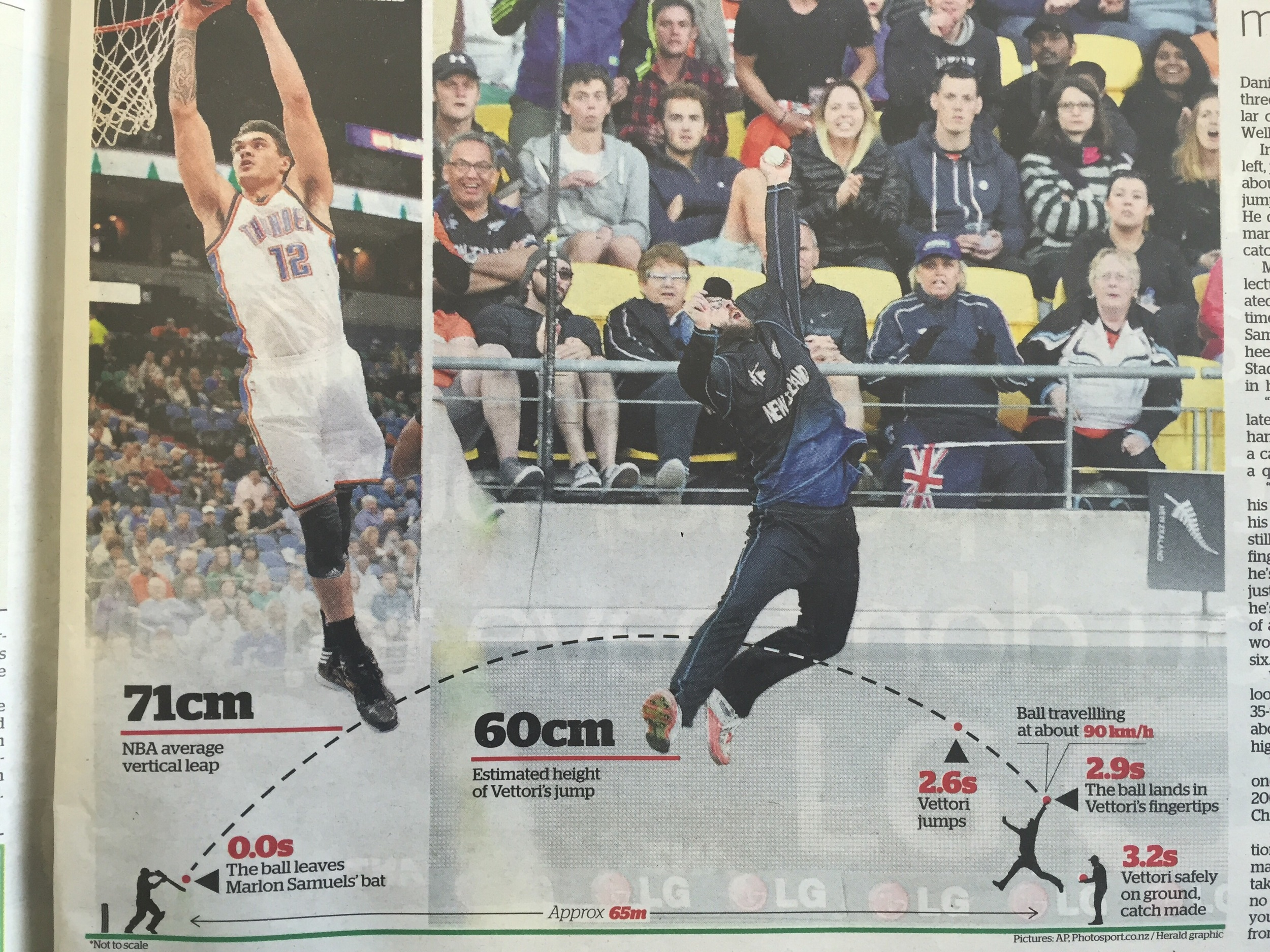 Graphic from NZ Herald's anaylsis of Vittori's catch.