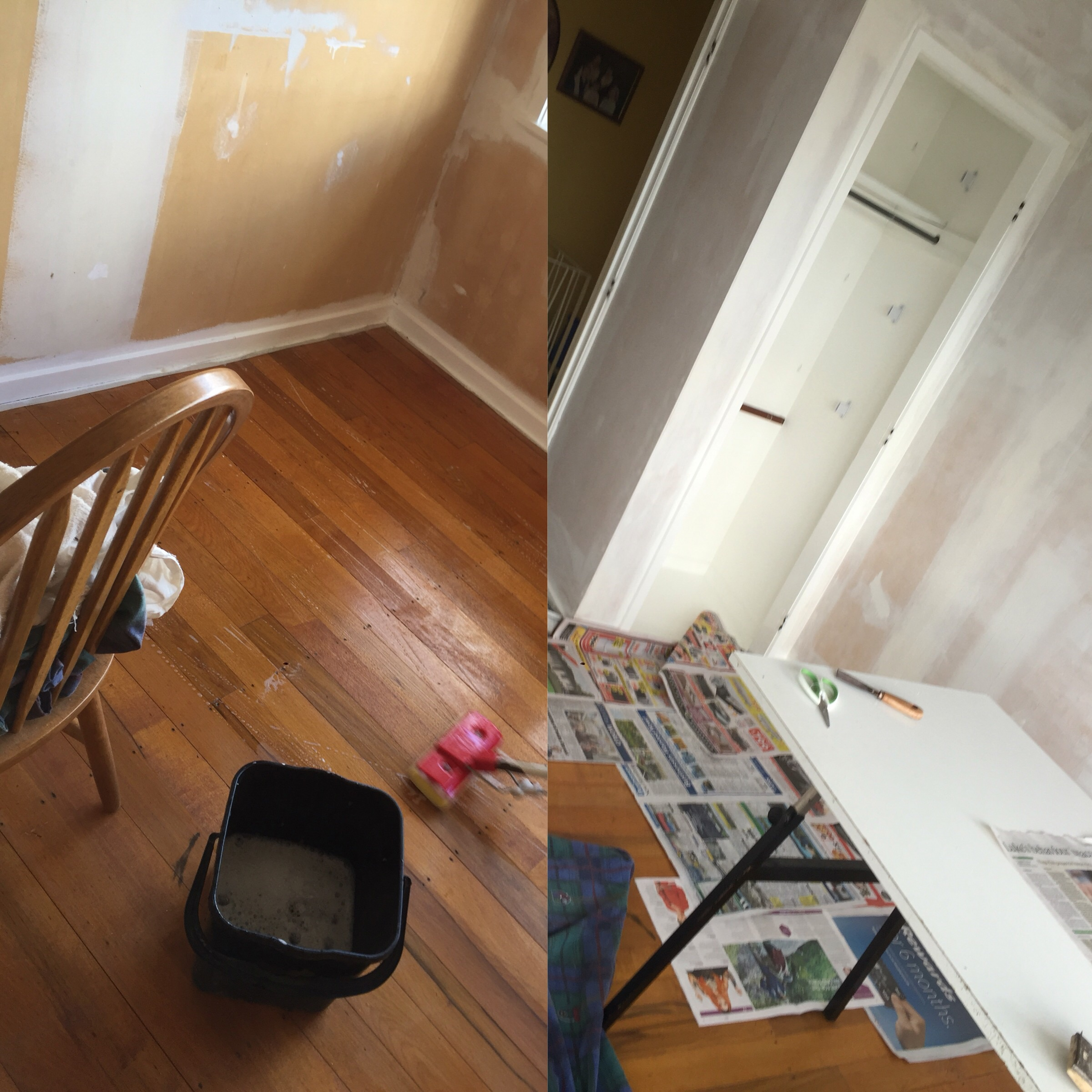 Prep work (carpet removal, floor cleaning, wall sizing/under-sealing) before wallpapering guest bedroom.