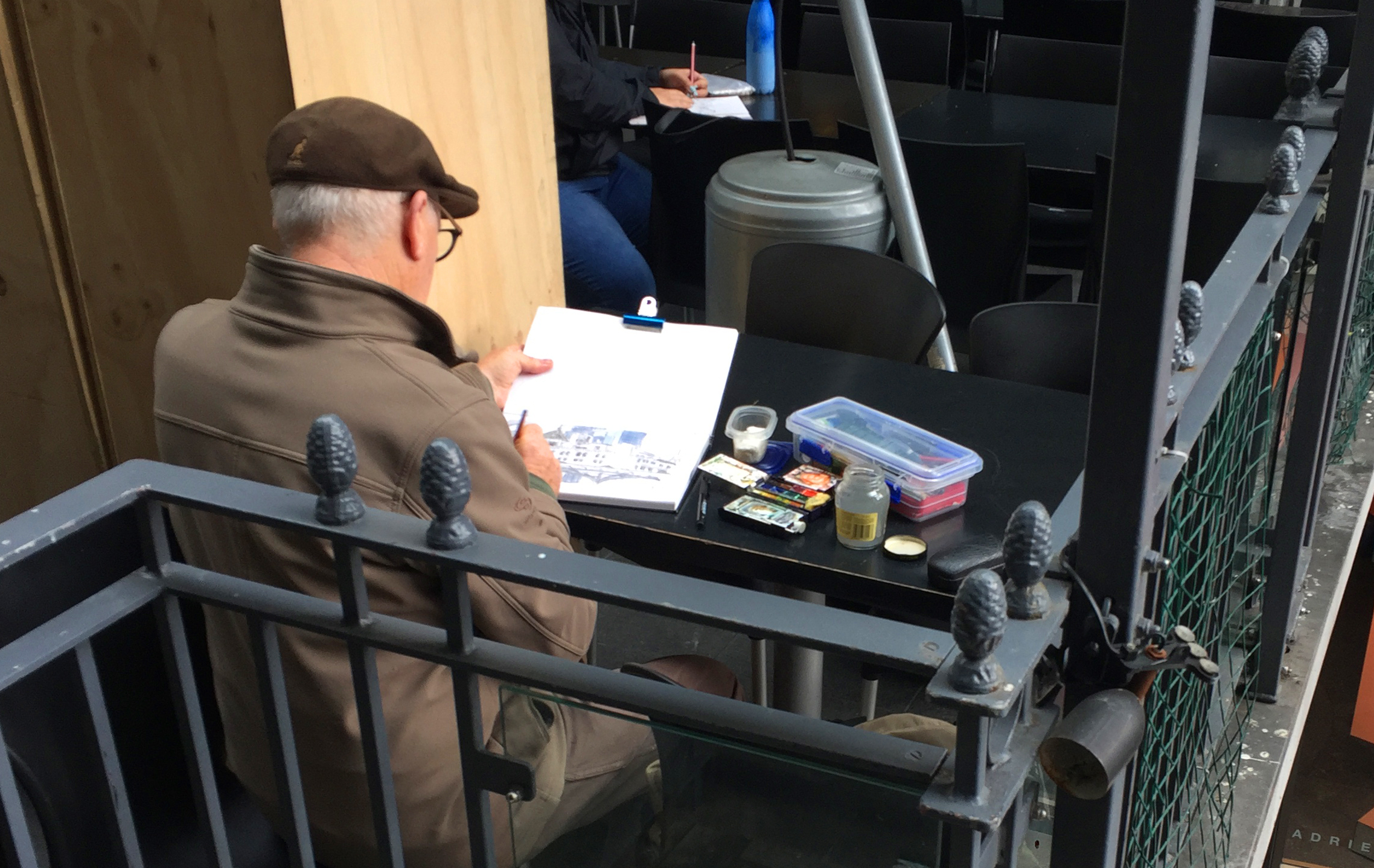 Finding a table to work at is a real treat on The Big Draw.