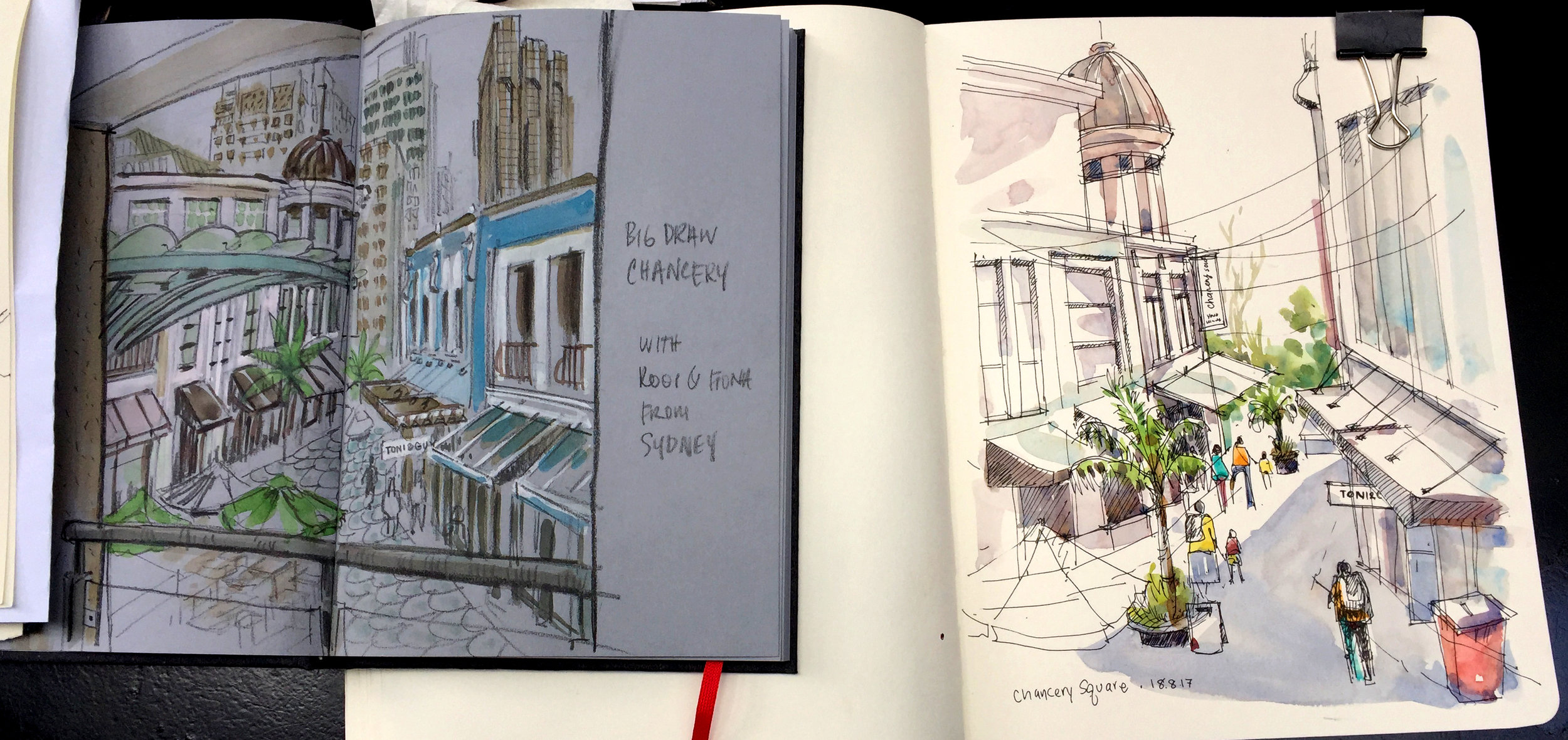 View of Chancery Square beautifully rendered by Murray Dewhurst from Auckland (left) and RooiPing Lim from Sydney (right).