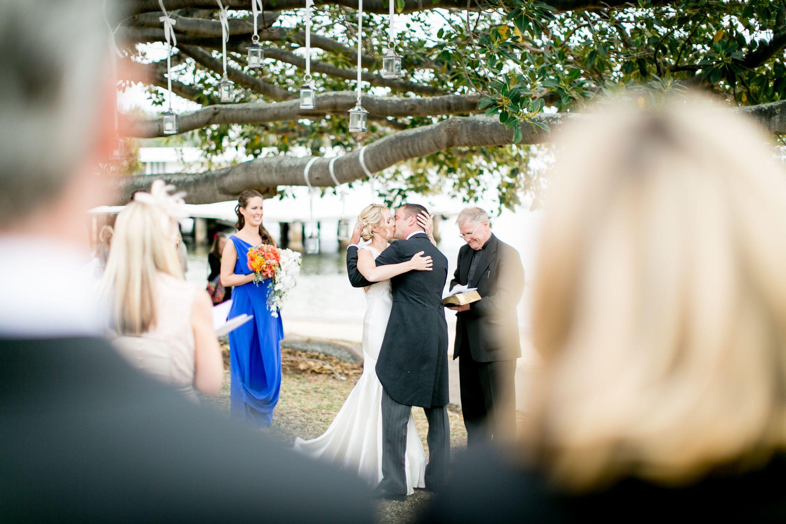 Fiona and Paul wedding ceremony kiss Dunbar House Sydney