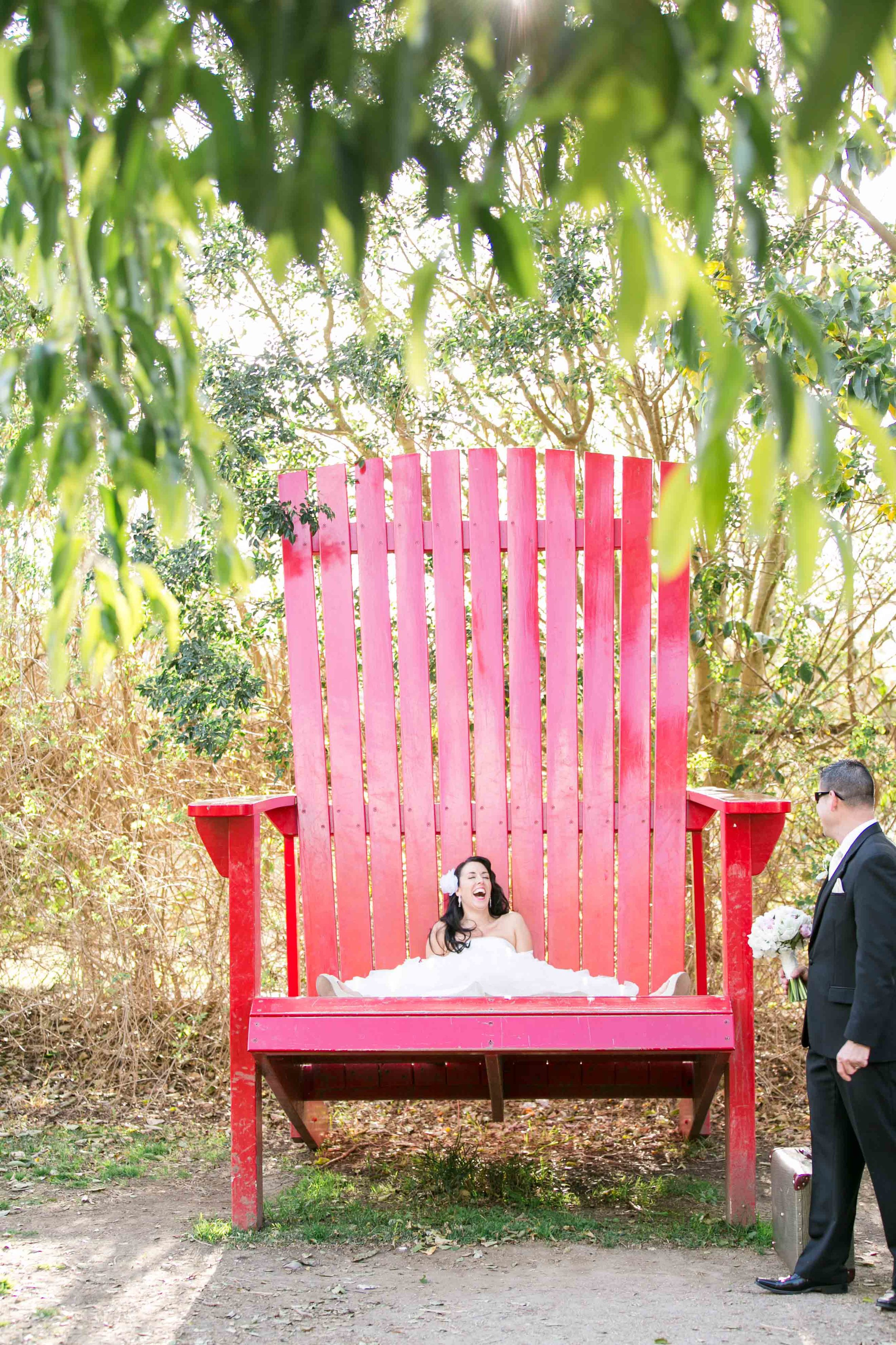 Lee and Rick wedding Hunter Valley Gardens Chair