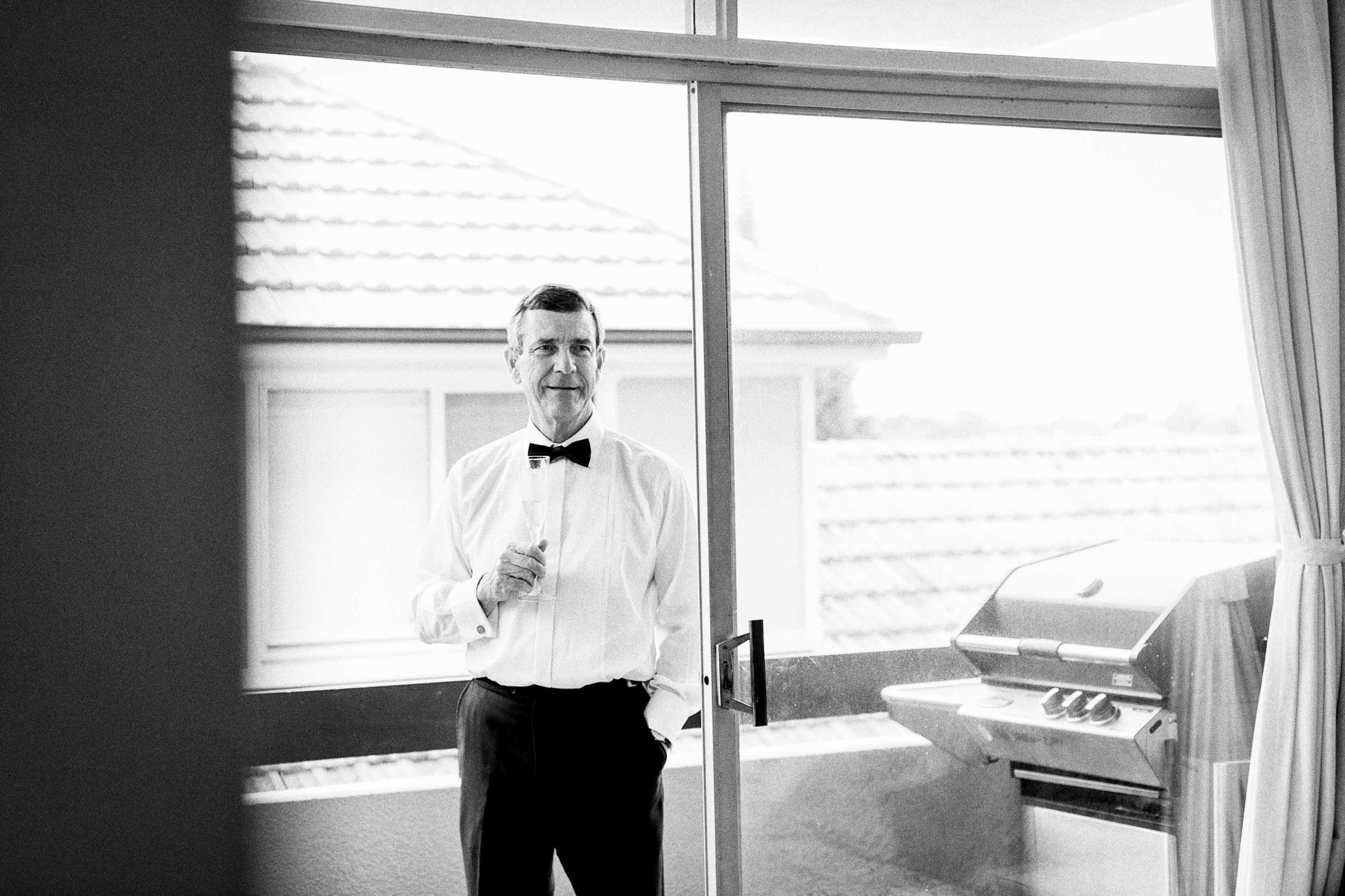Beth and James wedding Shore Chapel Sydney Dad