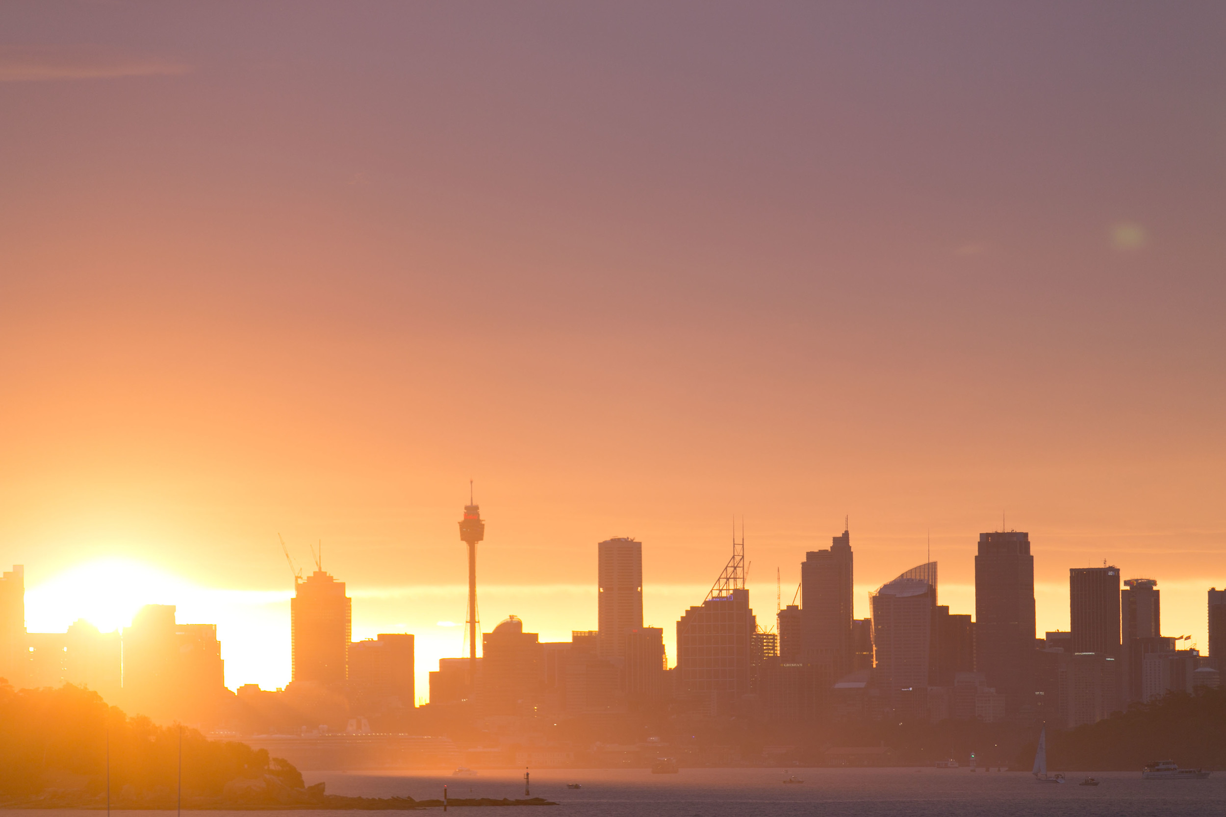 Beth and James wedding Watsons Bay Sydney Skyline Sunset