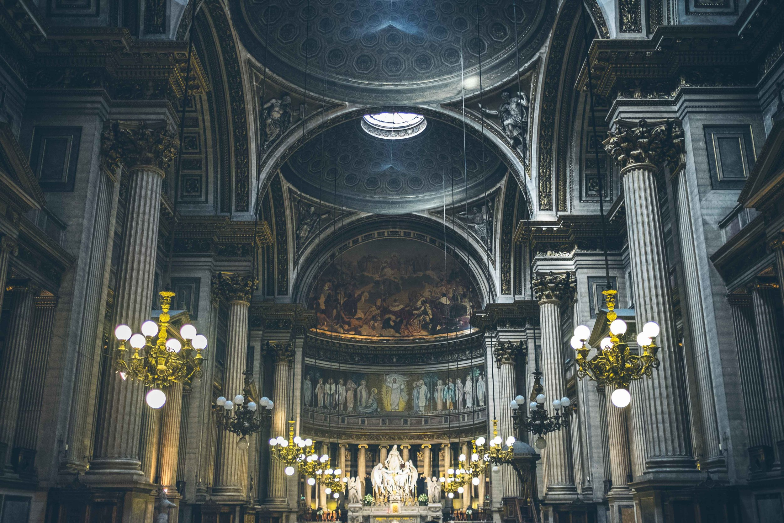 The dramatic interior of La Madeleine, a magnificent church located just next to the Opera House