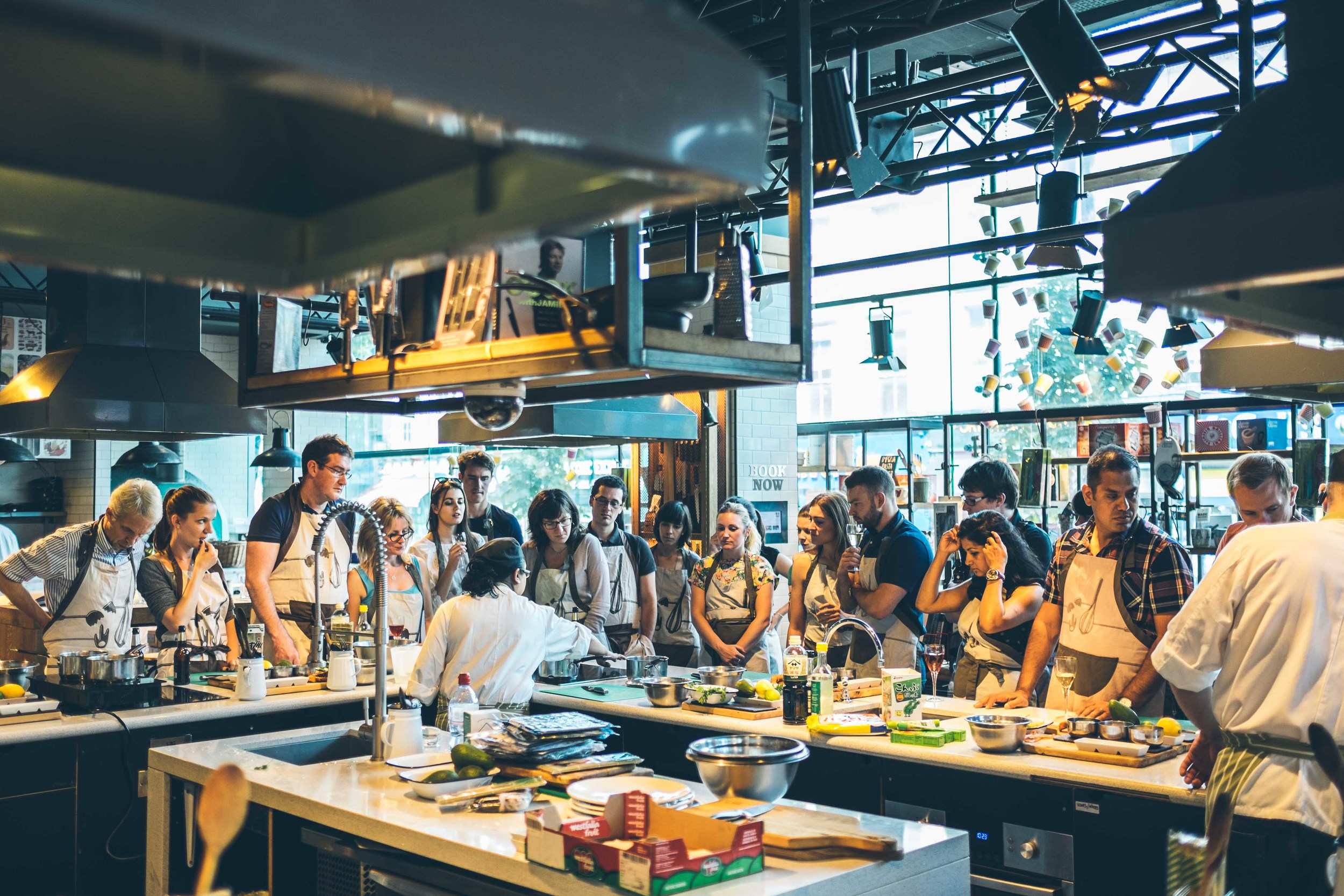 Cooking class at Jamie Oliver's Recipease in Notting Hill