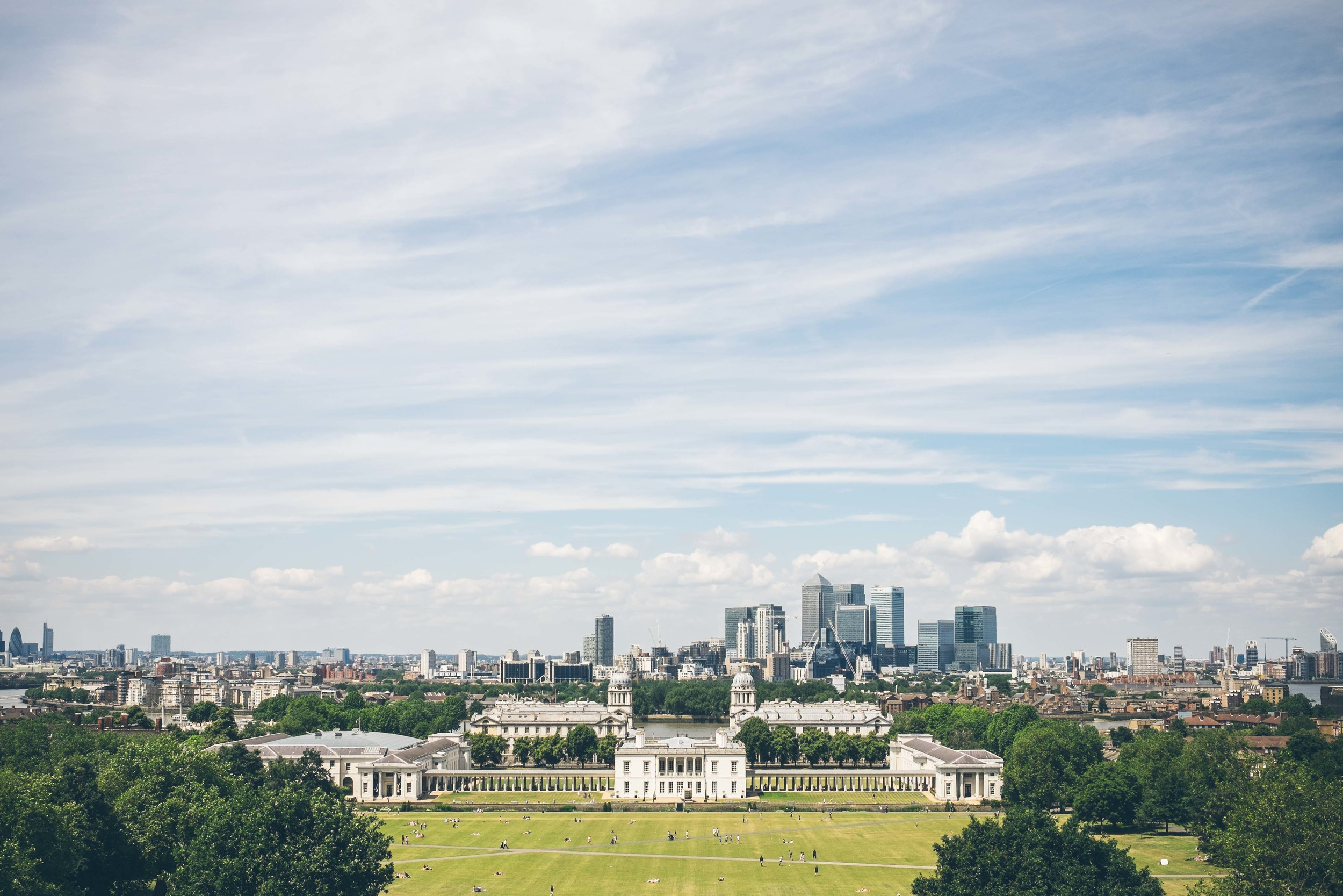 Juxtaposition: my favourite London skyline featuring the Royal Naval College, Greenwich Park in the foreground and Docklands in the background