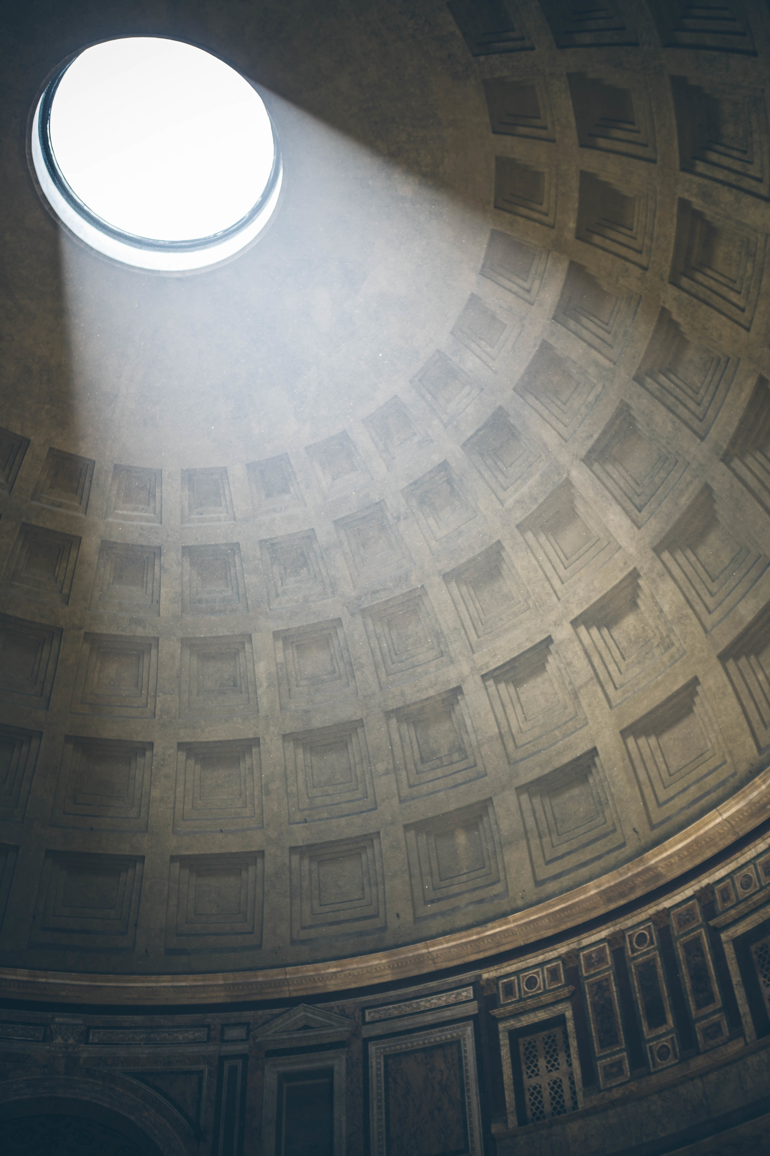 The Pantheon's open air oculus looks even better when it snows
