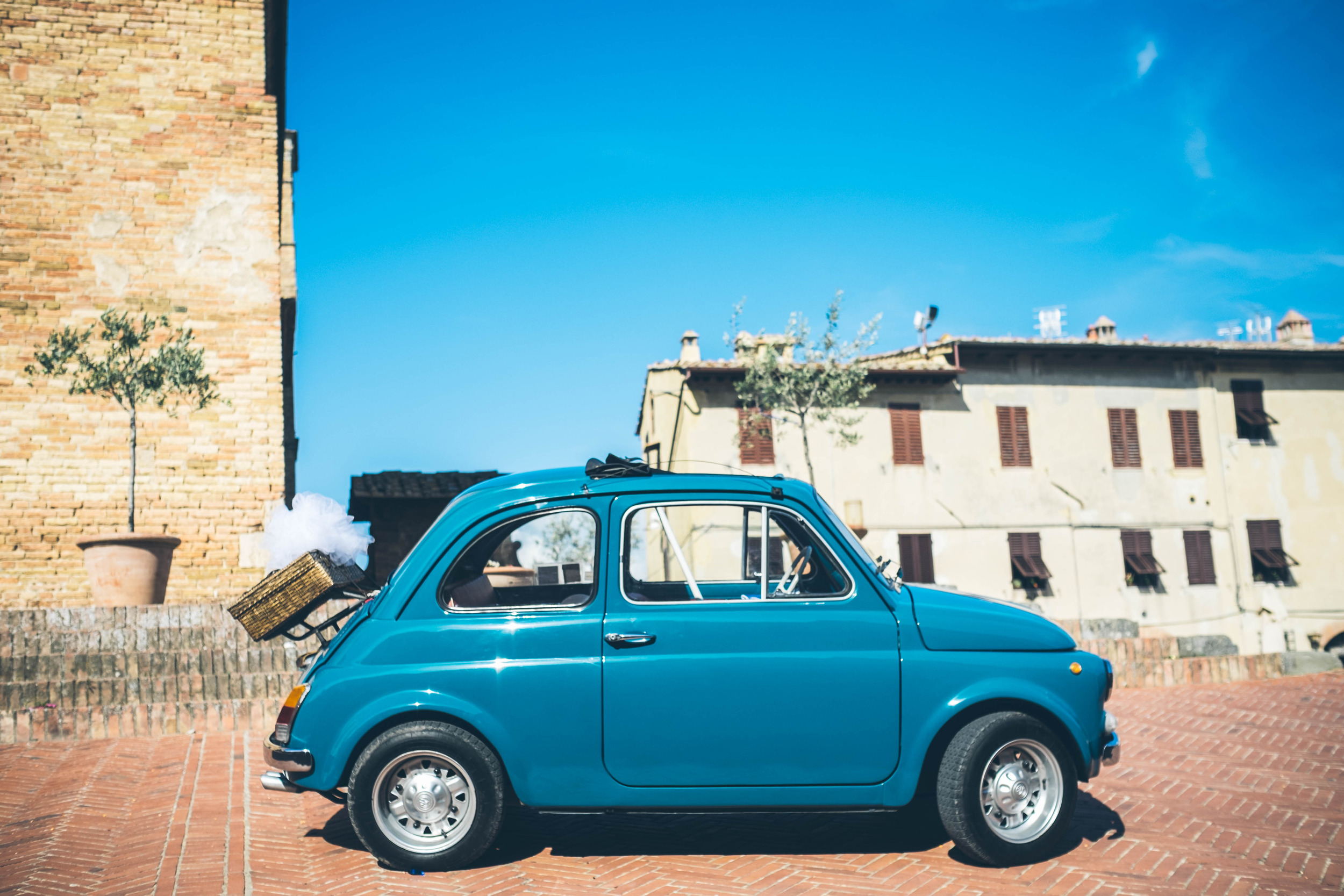 We stumbled across a wedding in San Gimignano; this was the wedding car - a vintage Fiat Nuova