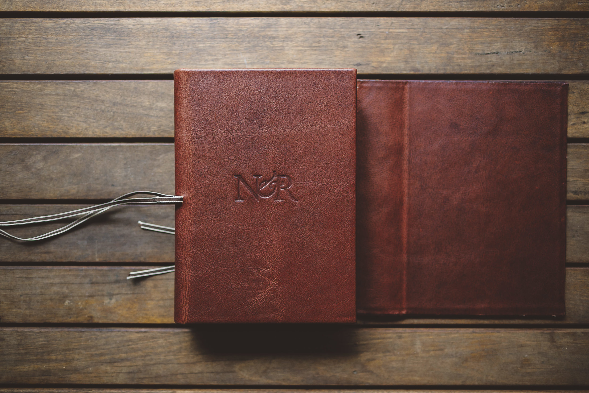 Wraparound leather cover and custom embossed logo with your initials