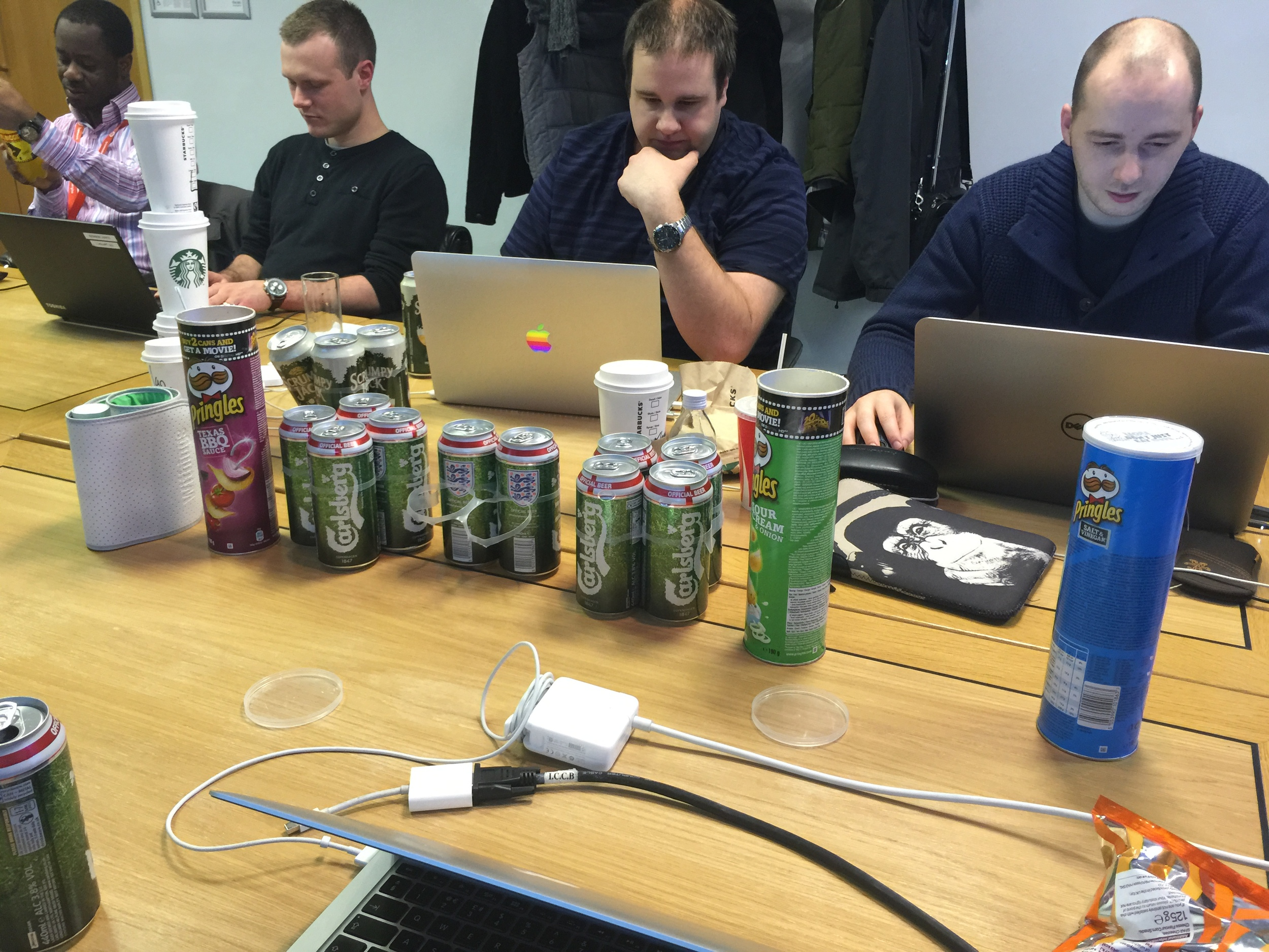 Beer and Pringles, two hack day staples...