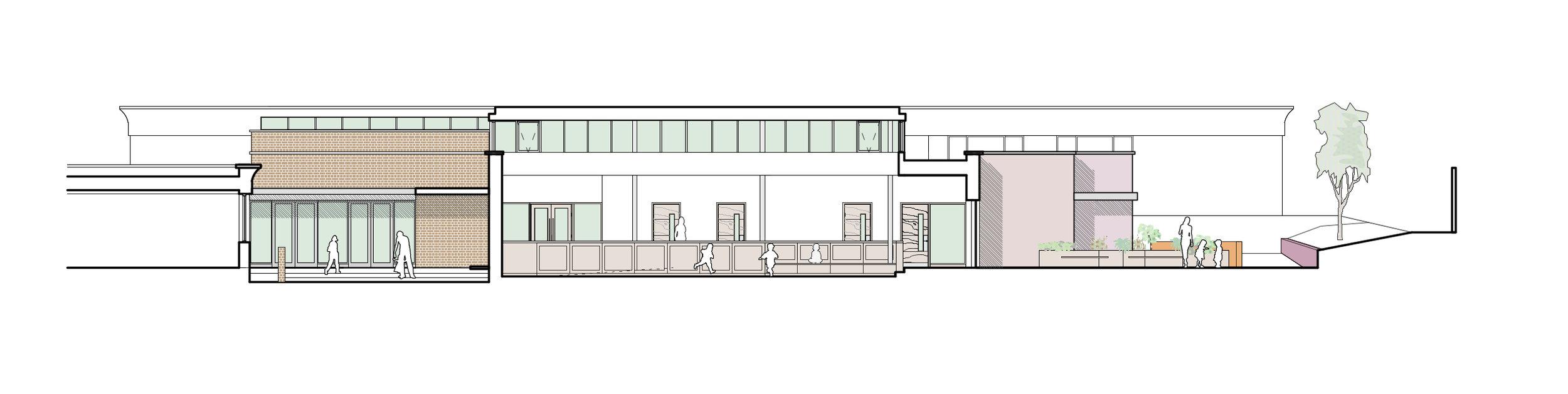 Cross section through entrance courtyard, central activities space and sensory garden.