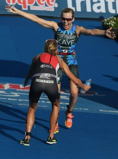 Helle Frederiksen and Alicia Kaye Celebrating 1-2 in the Hy-Vee Triathlon