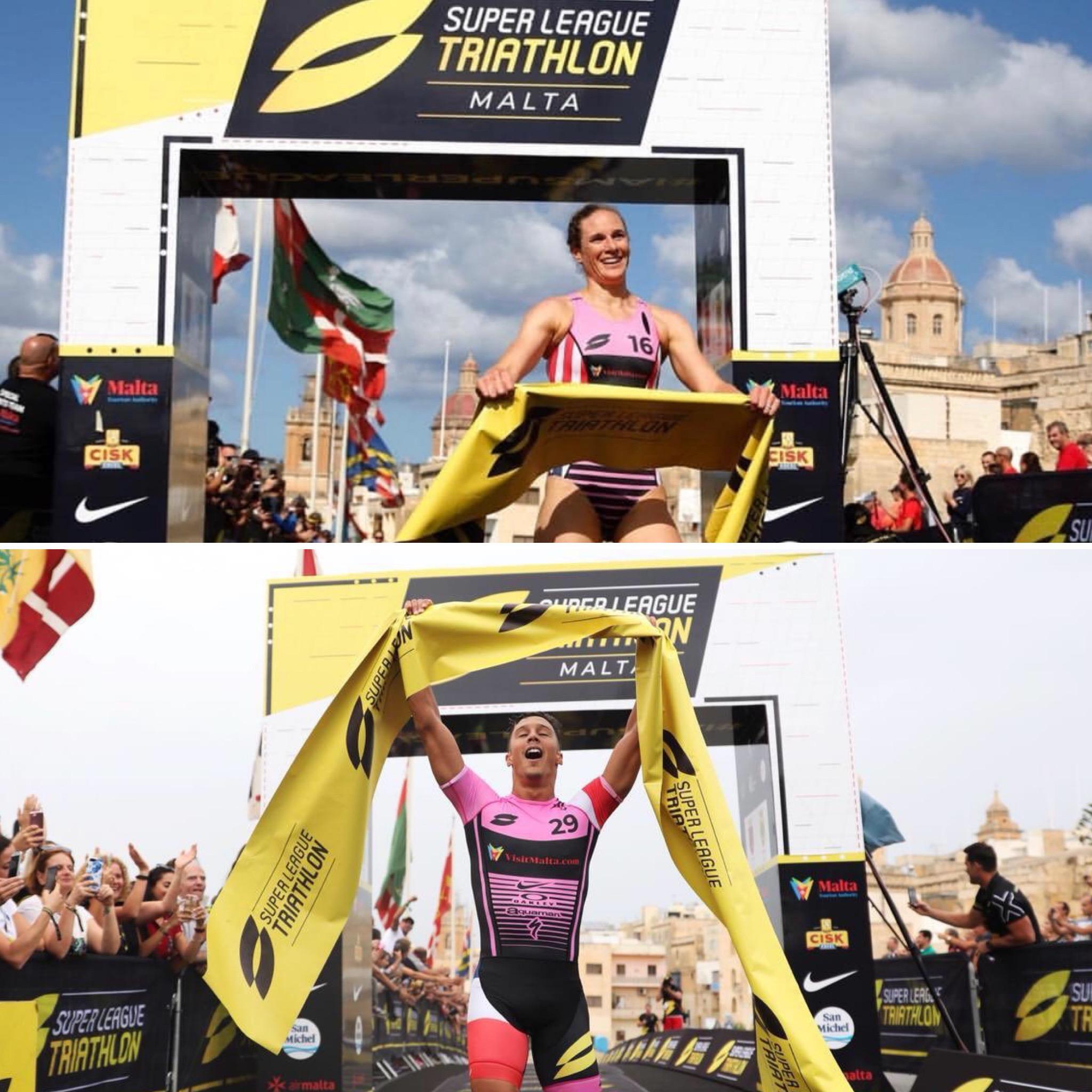 Katie Zaferes and Vincent Luis winning Super League Malta 2018