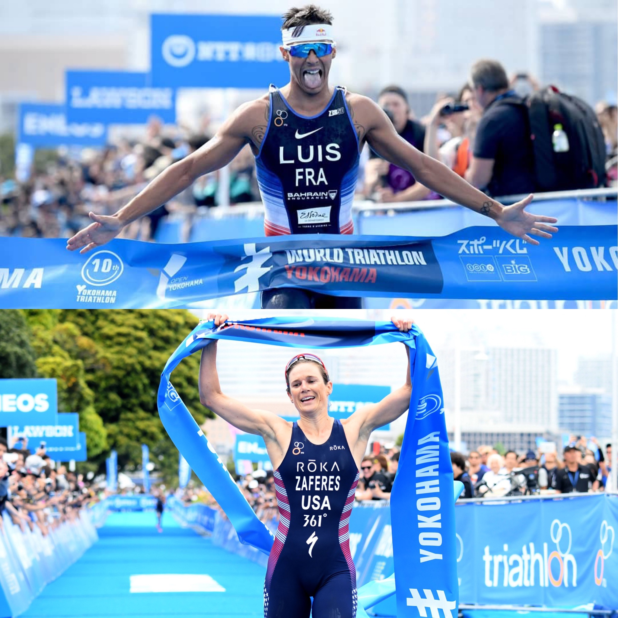 Winners of WTS Yokohama 2019 Vincent Luis and Katie Zaferes