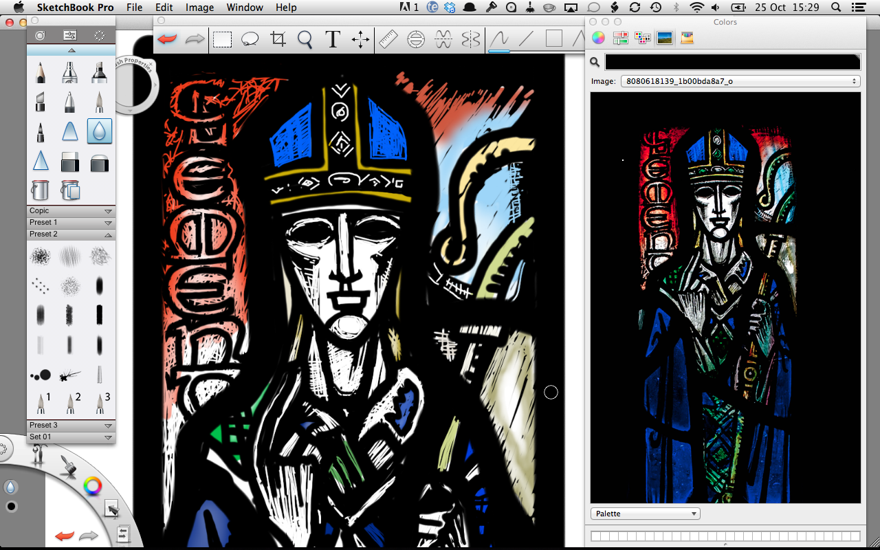 Left : Detail of head in Sketchbook Pro.  Right : Original photograph of panel