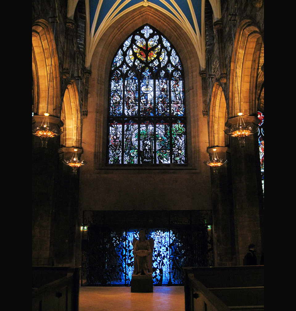 S  t. Giles Cathedral, New West Porch and the Robert Burns Memorial Window, Edinburgh, Scotland.