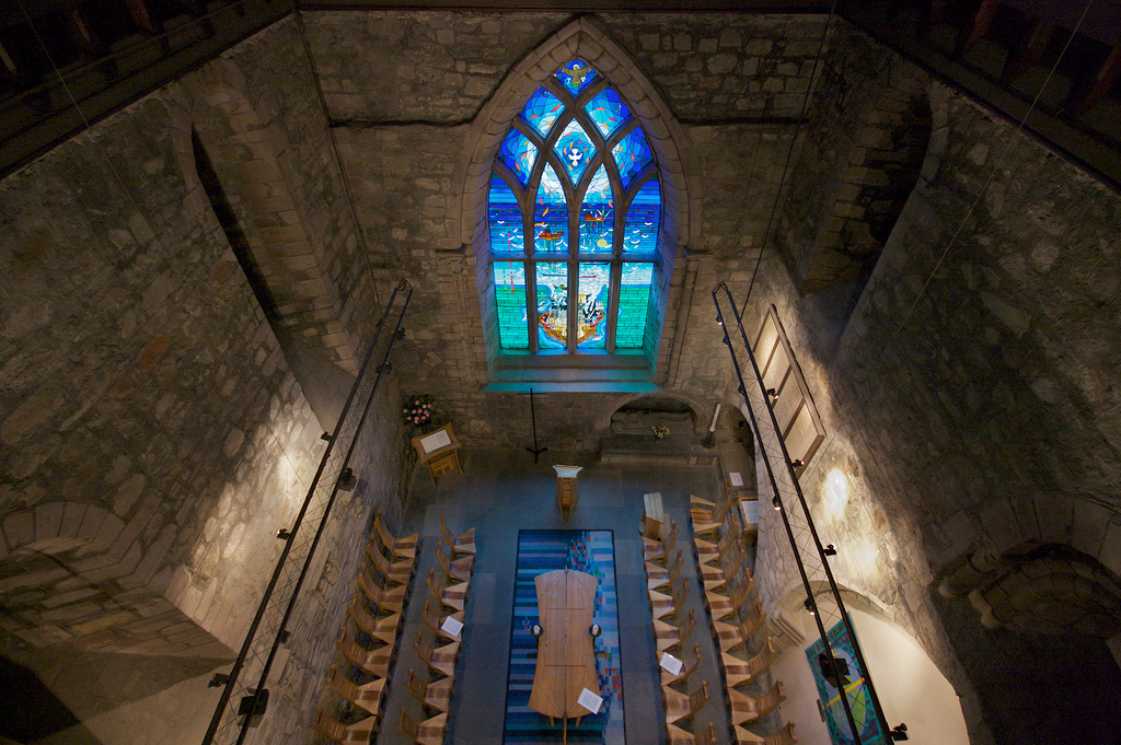 Oil Industry Chapel window, St John's Chapel in the Kirk of St Nicholas. Photo:  Nick Thomson