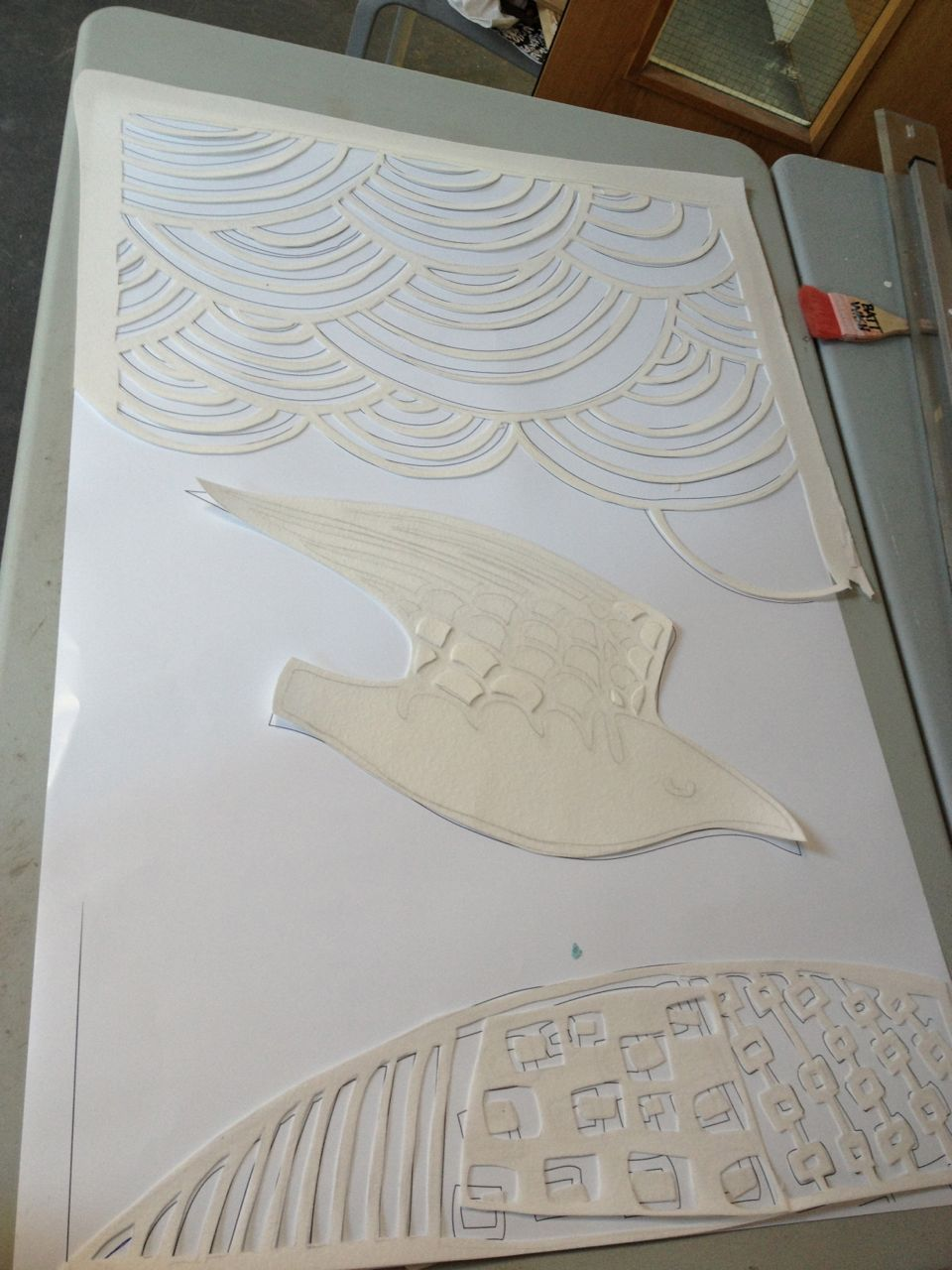 """Fibrepaper moulds being cut for one section of """"Haven""""."""