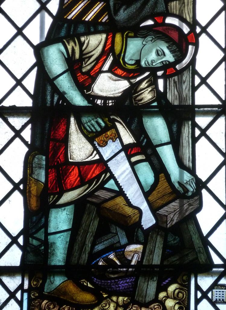 Christ the Carpenter (detail) St Mary, Abergavenny. Photo:  Granpic