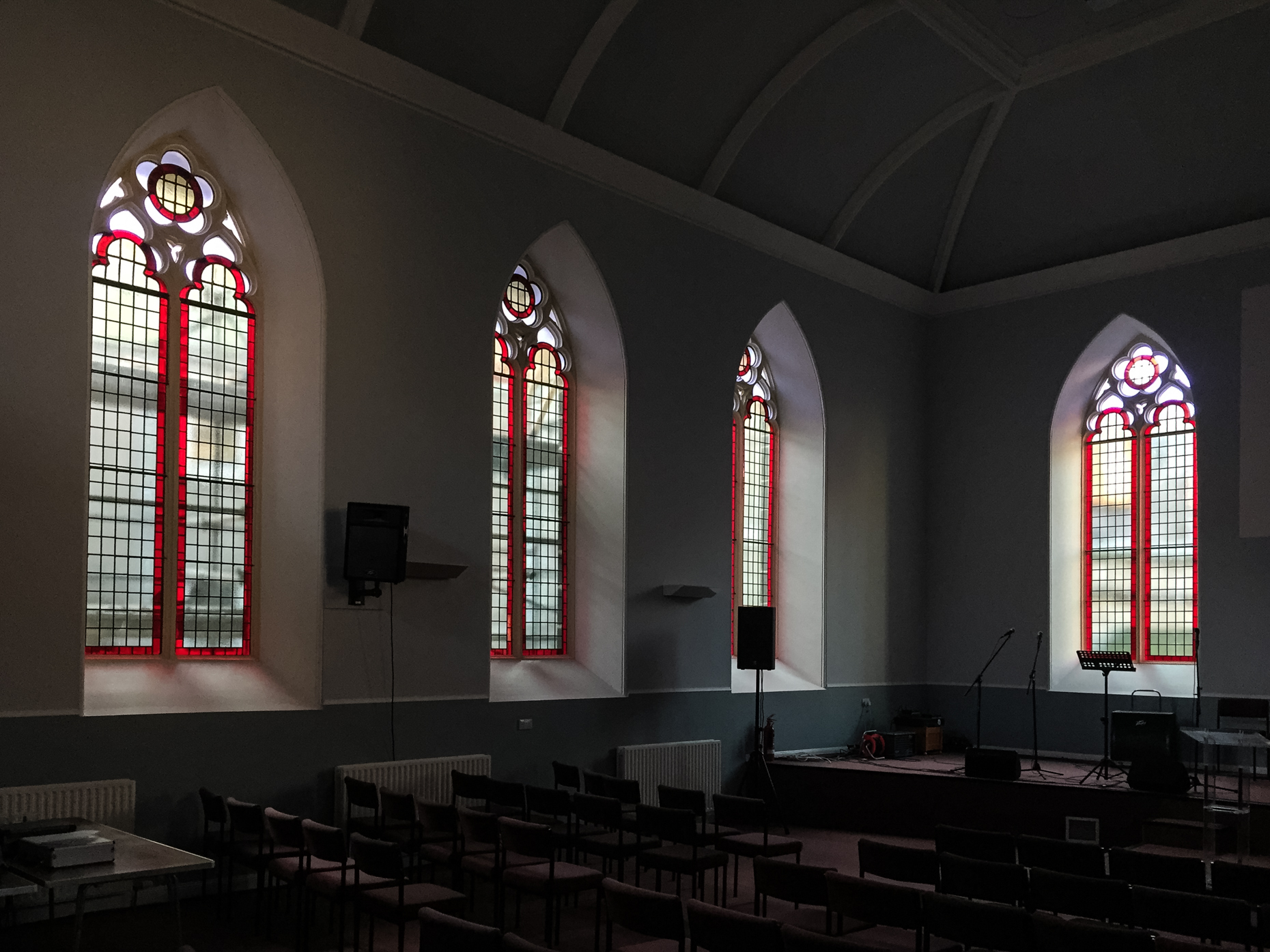 Elim Church, Aberdeen. Morning Glass designed and built the new lancets and repaired all the upper sections in timber tracery,
