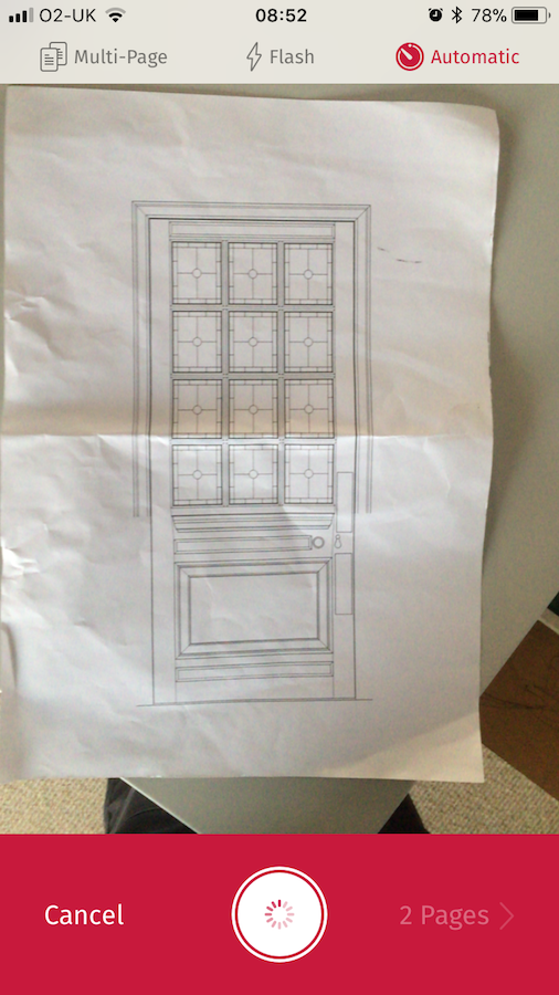 Scanbot makes short work of archiving architects drawings. The resulting PDF's can be automatically uploaded to Dropbox or iCloud.