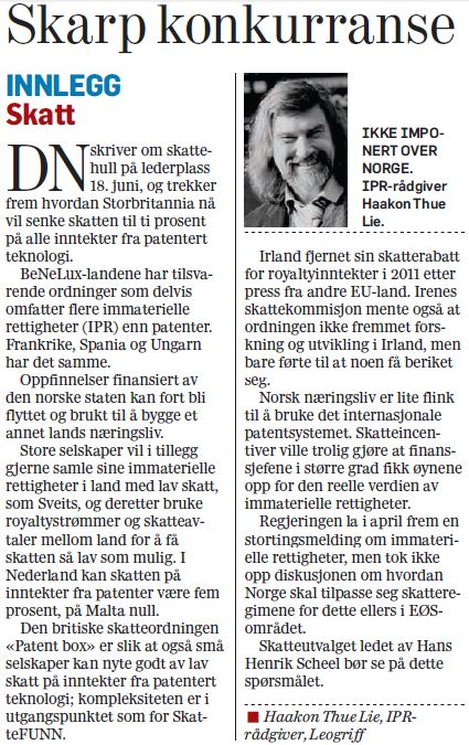 Comment in Norwegian printed in Dagens Næringsliv 2013-06-24