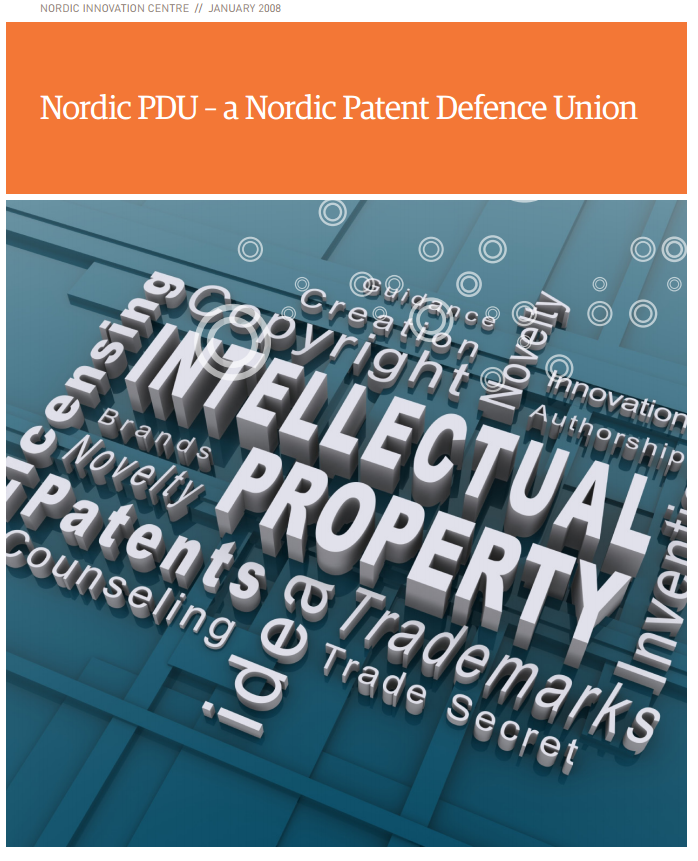 "2007-2008: For the  Nordic Innovation Center , together with  CIP - Center for Intellectual Property Studies ,  Abelia ,  IPR University Center  and  DKPTO , we made the report "" Nordic PDU - a Nordic Patent Defense Union  .""  we presented a modified Patent Defence Union for assisting Nordic SMEs in IP dispute resolution."