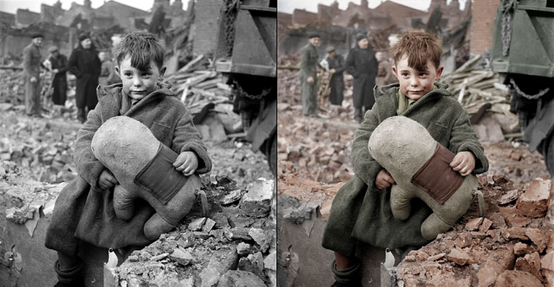 Abandoned boy holding a stuffed toy animal. London 1945  Original Photograph by  Toni Frissell   Colorized by  HansLucifer