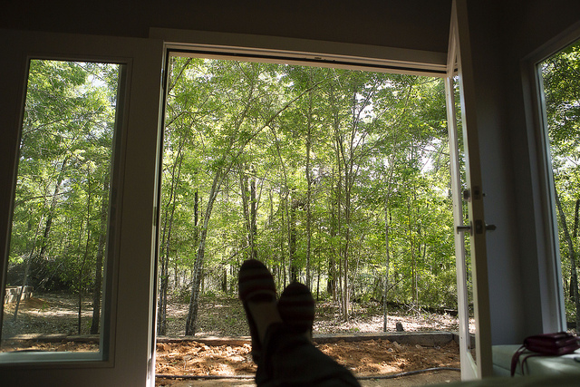 the view out our master bedroom french doors! (once we clear more underbrush the pond will be more visible.)
