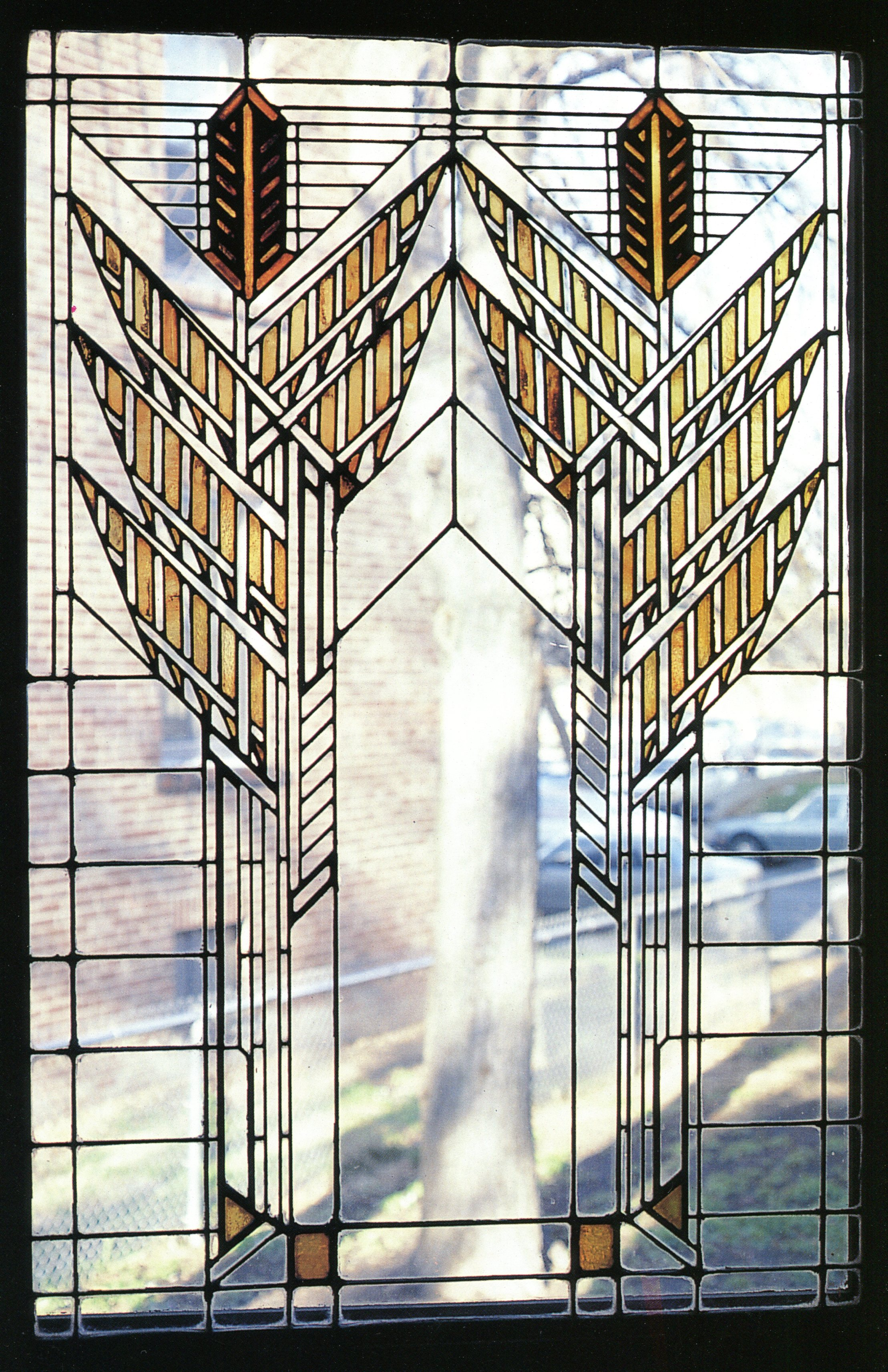 Wright's Dana House (1899) dining room windows