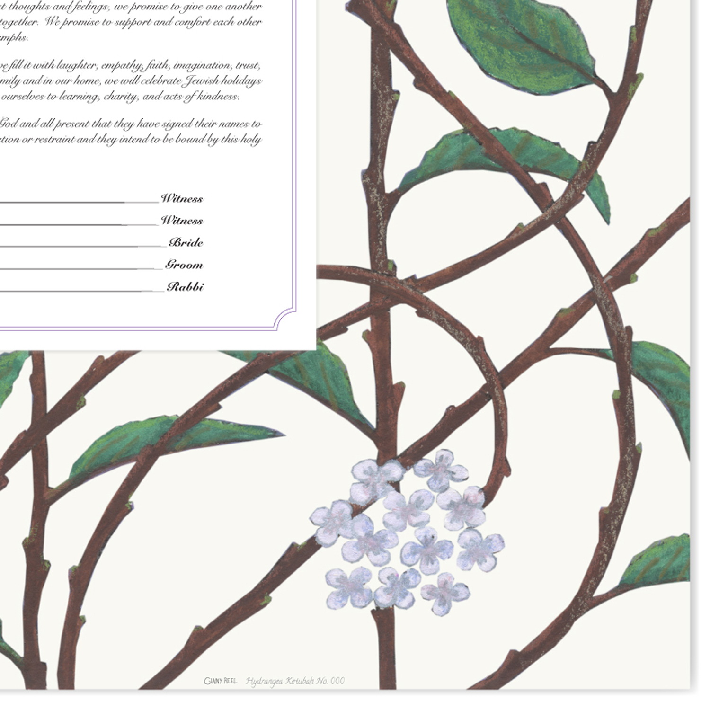 Hydrangea Ketubah detail 3