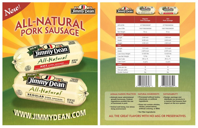 Jimmy Dean: All Natural Sausage – Spec Sheet