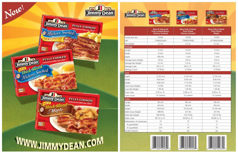 Jimmy Dean: Bacon Shipper – Spec Sheet