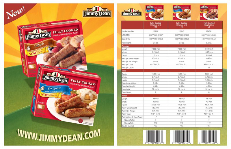 Jimmy Dean: Pork Sausage Links – Spec Sheet