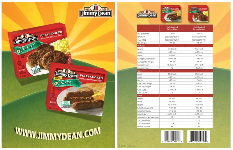 Jimmy Dean: Turkey Sausage – Spec Sheet