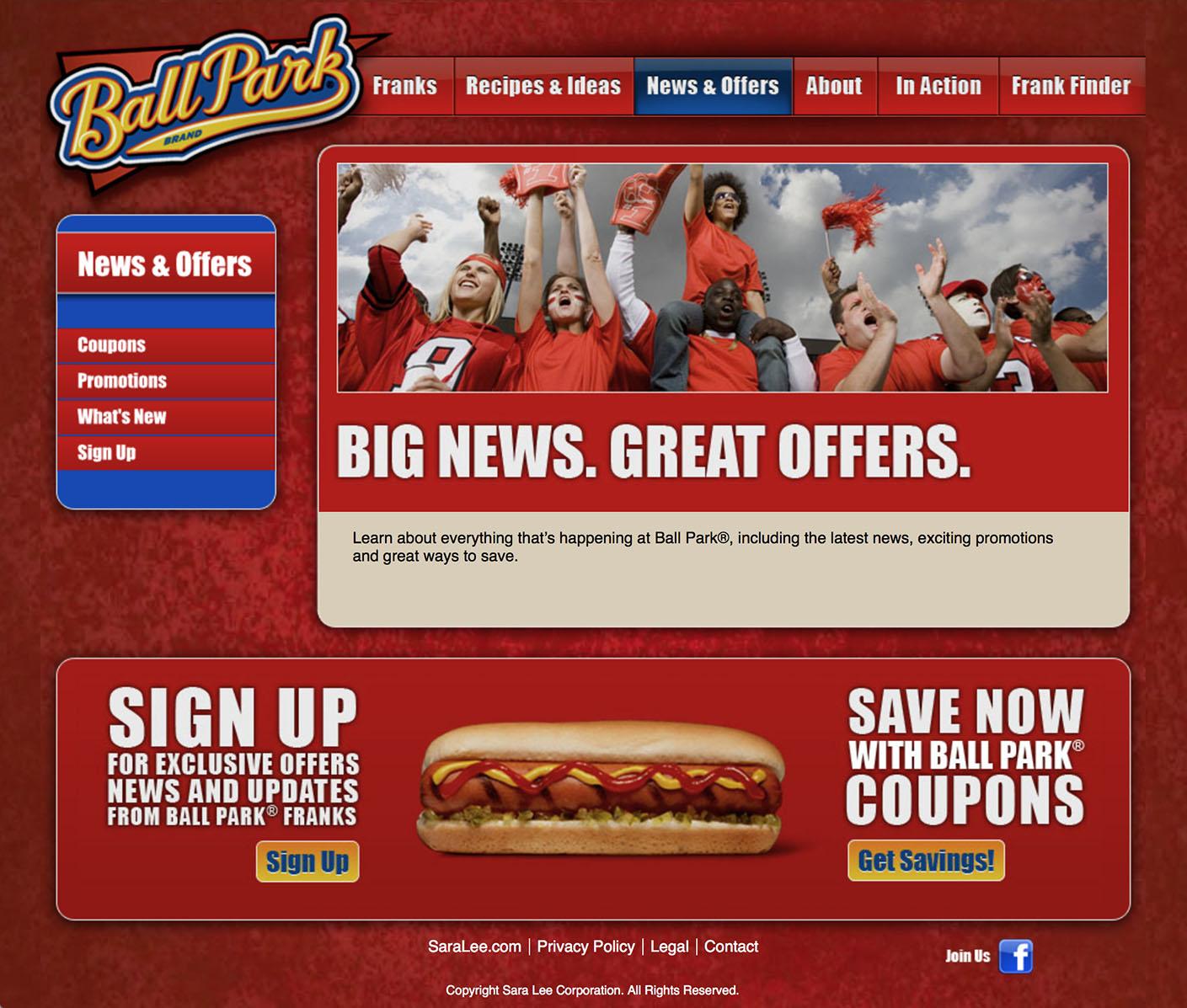 Ball Park: Website – 4 News and Offers