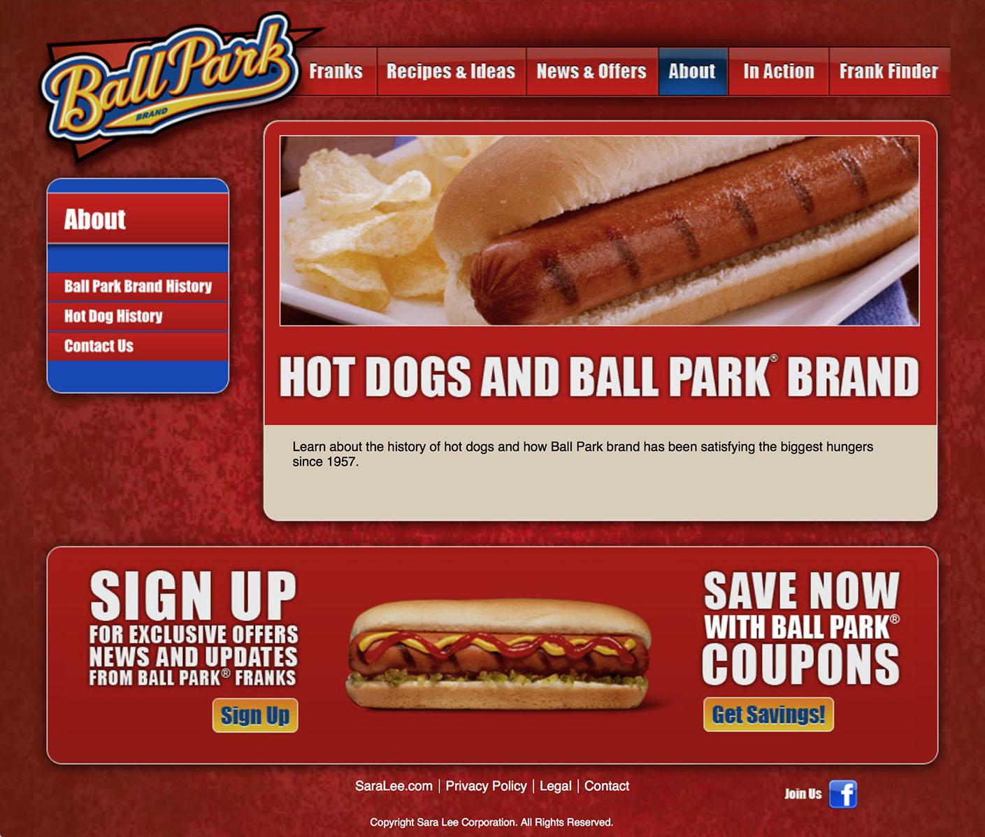 Ball Park: Website – 5 About
