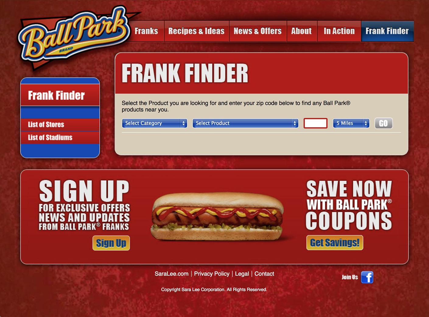 Ball Park: Website – 7 Frank Finder