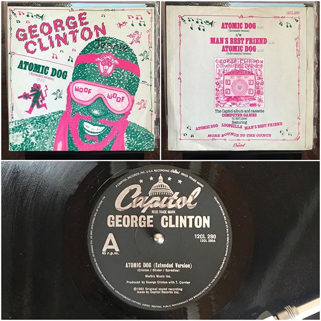 """36-year-old electro-funk that's aged surprisingly well. Hey Chicago friends, do yourself a favor and catch George Clinton & Parliament/Funkadelic on his retirement tour July 15th at Petrillo Music Shell – George Clinton, Atomic Dog (extended version) 12""""; 1982, Capitol Records . . #georgeclinton #pfunk #parliament #funkadelic #electronic #elctro #funk #soul #hiphop #synth #synthfunk #techno #technofunk #computergames #funkforthefuture #atomicdog #snoop #snoopdogg #vinyl #turntable #vinyllove #vinylporn #vinyligclub #vinyljunkie #vinylcollection #instavinyl #recordcollector #recordcollection #nowplaying #Chicago"""