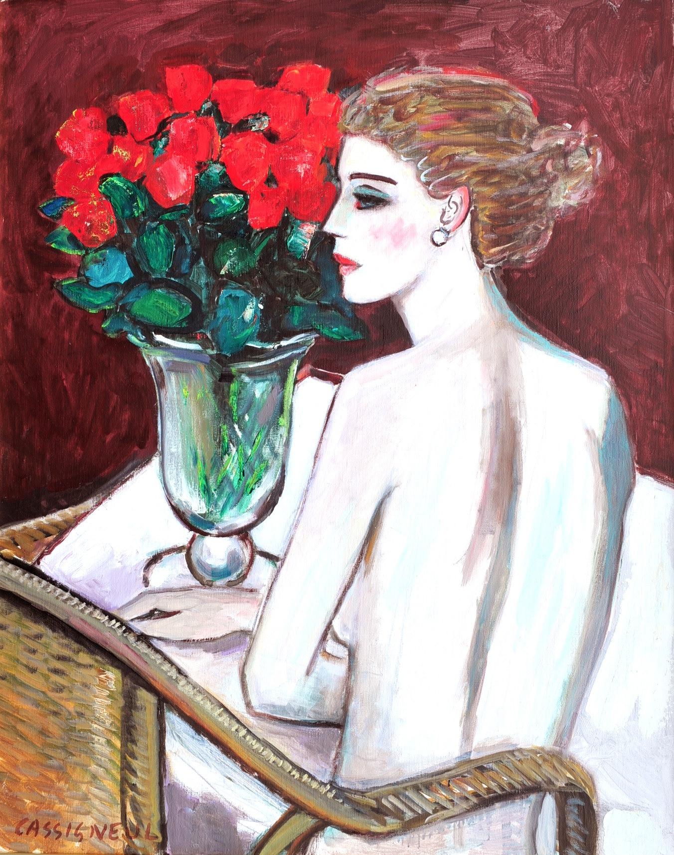Jean-Pierre Cassigneul 1935- ,Les Roses sont arrivées au matin, Olie op Doek, 91,5 x 73 cm  gesign.linksonder gedateerd verso 1997.jpg