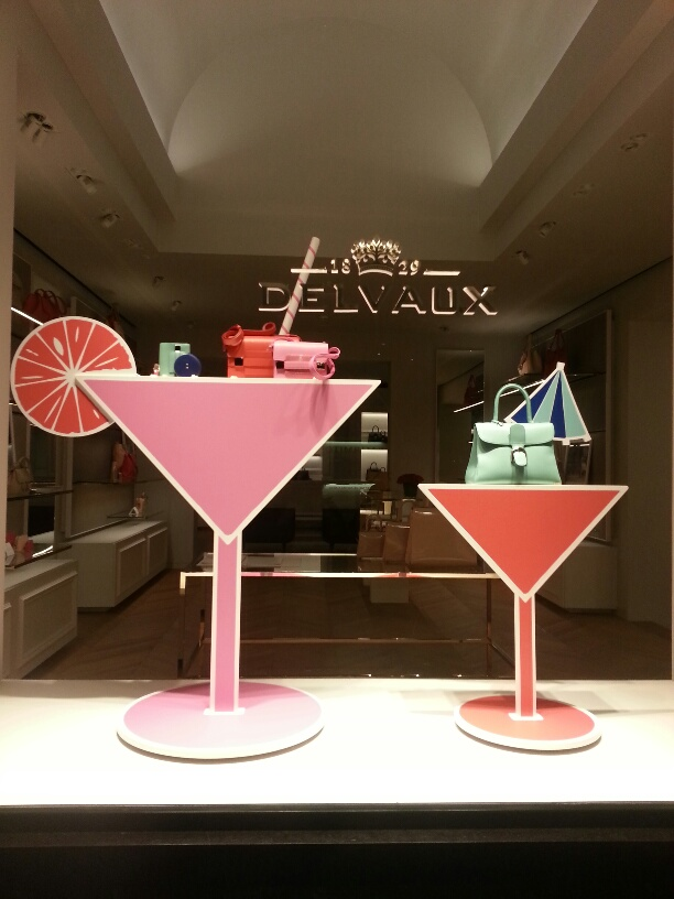 Candy-colored handbags at Delvaux